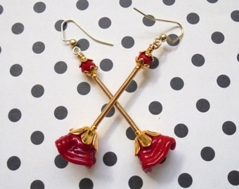Crimson Red and Gold Lampwork Flower Dangle Earrings (3236)