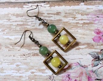 Yellow Jadite, Green Adventurint and Brass Earrings (3307)