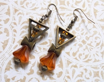 Golden Topaz and Brass Boho Earrings (3354)