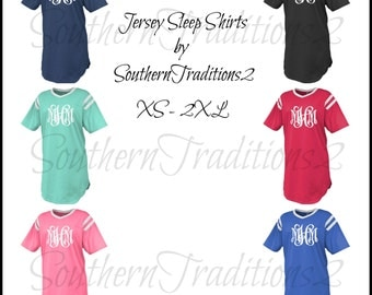 Monogram Jersey Sleep Shirt - Personalized Sleep Shirt - Monogrammed Sleep Shirt - Jersey Sleep Shirt