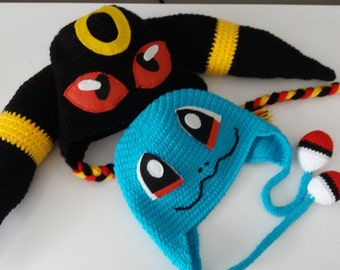 SET of 2 HATS,Squirtle and Umbreon inspired hat,Squirtle Crochet Hat,Pokemon Go,Squritle Crochet Costume,halloween costume,fun gifts