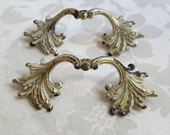 Vintage Ornate Drawer Pulls Handles Brass Pair Set of Two White Gold Metal French Provincial Aged Patina, Furniture Restoration Hardware
