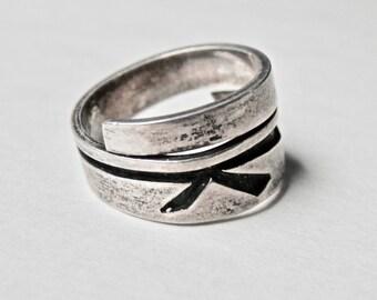 Vintage Hopi Overlay, Hopi Ring, Native American, Sterling Silver, Vintage Southwestern Jewelry, Bypass Ring, Size 6.5 Ring, Vintage Jewelry