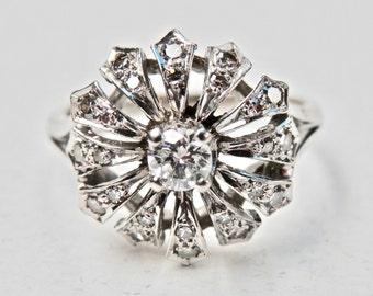 Vintage Diamond Ring 14K White Gold Vintage Engagement Ring Starburst Flower Gold Wedding Ring 14KT White Gold Diamond Size 7.75 Ring