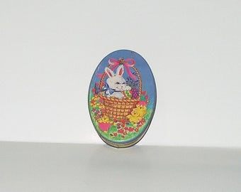 Vintage Small Oval Candy Tin Easter Bunny Easter Egg Collectible Tin 3172