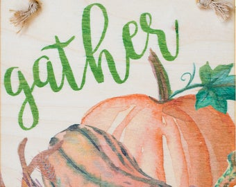 Printed Plywood Pennant | Watercolor Gather | Gifts under 15