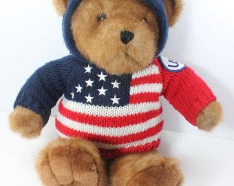 USA Teddy Bear, Vintage Stuffed Toy Bear, Patriotic Bear