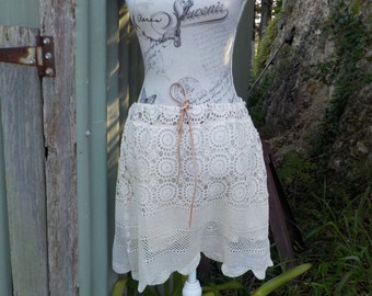 crochet skirt, boho beach hippy festival alternative mini