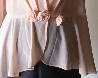 XL champagne blush vintage 80s blazer V neck plunging blouse top womens shirt polyester long sleeve PEPLUM hem
