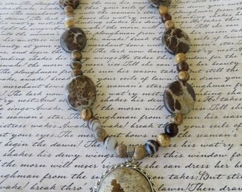 Picture Jasper And Brown Agate Beaded Necklace With Jasper Pendant