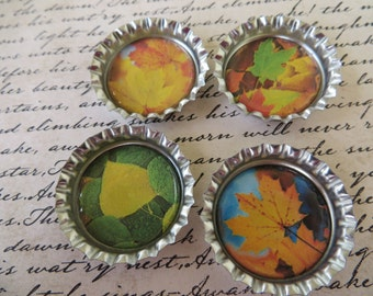 Autumn Leaves Bottle Caps Magnets Or Pins Set