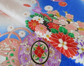 Japanese pure silk cloth from Kyoto Blue Traditional pattern No.5