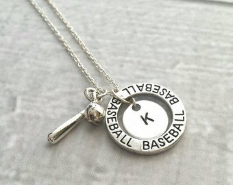 Baseball Necklace - silver personalized initial letter player pendant disk with ball and bat charms - coach mom game fan number team gift
