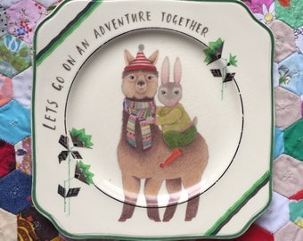 Lets Go On An Adventure Together Alpaca and Bunny Vintage Illustrated Plate