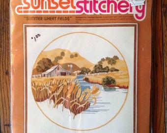 """Vintage 1970's Sunset Designs Sunset Stitchery Summer Wheat Fields Needlecraft 16"""" x 16"""""""