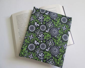 Navy blue, green and white floral paperback  book sleeve, book cover, book bag, book protector