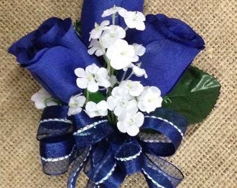 New Artificial Navy Rose Corsage, Blue Rose Mother's Corsage, Navy Corsage, Blue Wedding Flowers