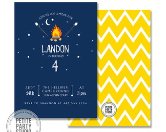 Camping Smores Birthday Printable Party Invitation - Birthday or Baby Shower - Petite Party Studio