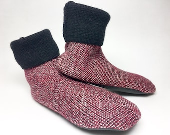 Wool Slippers, Kid's Large, Grippy Bottoms, Shoe Size  13 1/2 to 2 1/2, Age 6  1/2 to 8  1/2 years, Red and Black, Ready to Ship