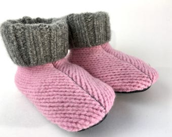 Toddler Wool Slippers, 12-18 months, Wool Sweater Slippers, Shoe Size 2-3, Waldorf, Indoor Shoes, Grippy Bottom, Machine Washable