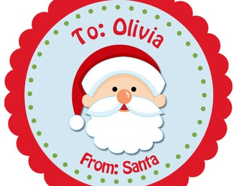 From Santa Personalized Christmas Sticker  From Santa Gift Tag -- Any wording