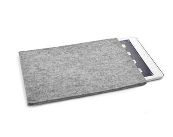 iPad case, iPad 9.7 cover, iPad New case, iPad 2017 case - Portrait Design 100% pure wool, undyed, natural Grey