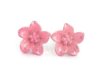 Pink Lily Earrings - Spring Flower earrings - Retro Resin jewelry - Rockabilly, Pinup, Vintage Style
