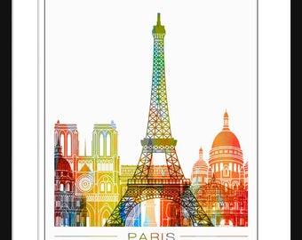 Paris Skyline Print Poster