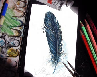 Handpainted, Original 4x6, Watercolour, Feather Study No.55. NOT A PRINT , crow, black , Original Painting, fine art