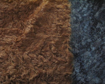 "1/4 yard - 18"" x 27""- Medium Density Mohair with Curly Finish - 3/4"" pile RUSTY BRONZE color cheswickcompany"