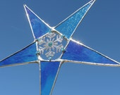 Azure Blue Snowflake Star- 10 inch blue mix art glass points with rhinestone snowflake center.