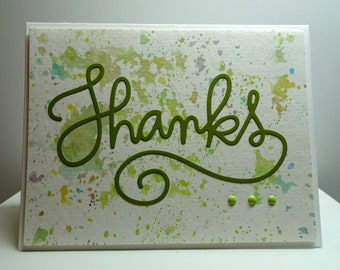 Handmade Watercolor Thank You Card in Green