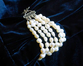 Statement Bracelet  ~ Multi Stranded ~ Sterling Silver and Freshwater Pearls