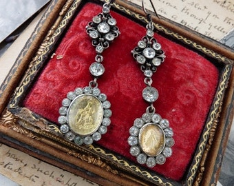 Antique French Paste Marie Mary Reliquary Earrings,  For the Bedazzling Elemental Woman, by RusticGypsyCreations