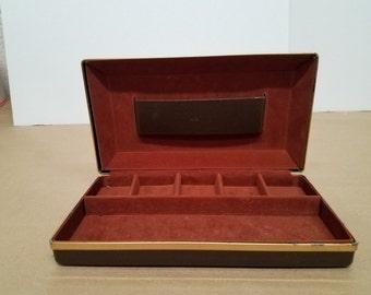 Vintage Brown Vinyl Jewelry Box