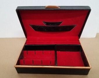 Vintage Small Black Mens Babcock Jewelry Box
