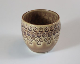 Flower Textured Ceramic Wine or Tea Cup in Tan for the Kitchen or Dining Room