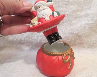Santa Claus Lidded Trinket Dish with Hermitage Pottery Original Box