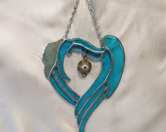 "Stained Glass Heart Wings with All Seeing Eye Dangle 9""X7"""