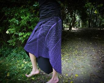 Long Leaf Print Skirt - Forest Dweller - Organic Cotton Skirt