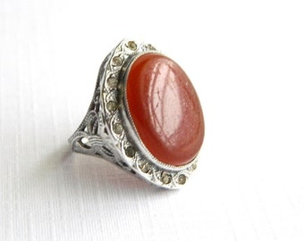 Vintage Sterling Silver Filligree Carnelian Ring - Genuine Carnelian = Size 5