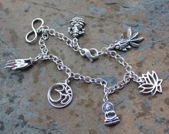 Sterling Silver Eastern Wisdom Zen Bracelet - Lotus,  Buddha, Om, Mudra Hand, Infinity, Ganesh, Goldfish- Buddhism, Hinduism
