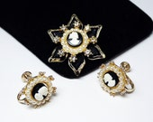 Cameo Brooch and Earrings Set