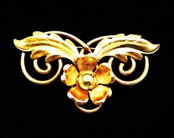 Gold Filled Flower Brooch - Signed Van Dell 1/20th 12KT G.F.  - Two Tone Light and Dark Goldtone - Petite Classic Vintage 1950's 1960s Era