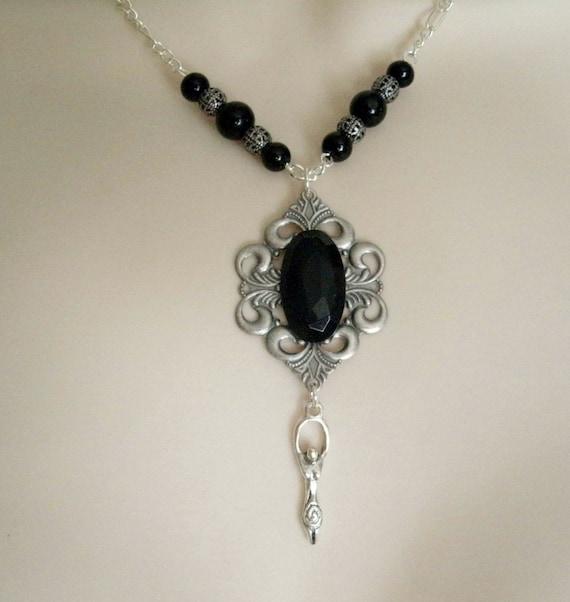 Dark Moon Goddess Necklace, wiccan jewelry pagan jewelry wicca jewelry goddess jewelry magic witchcraft witch wiccan necklace pagan necklace