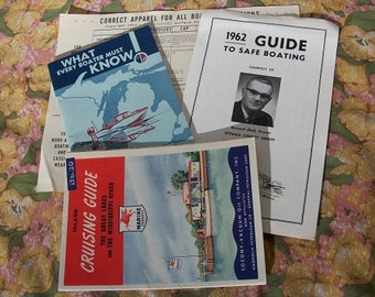 Vintage Very Cool Boating Pamphlets From Early 60's Correct Apparel Safe Boating Guides Inland Cruising Guide