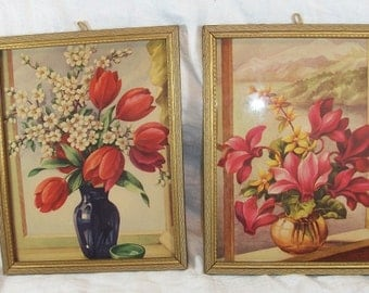 Vintage Set of 2 Beautiful Framed Flower Prints Tulips Cyclamen Forsythia Apple Blossoms