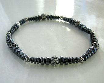 Hematite Bracelet Gunmetal Stacking Bracelet Hematite Stretch Bracelet