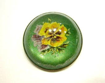 Vintage Bridle Brooch Rosette Dome Pin Intaglio Glass Green Yellow Purple Pansies Flower Vintage Collectible Jewelry Under 50