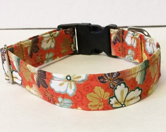 Metallic Cherry Bloom Adjustable Dog Collar - Made to Order -